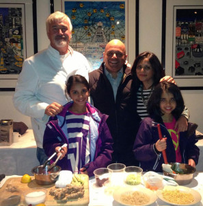 Chef Matt Haley, Uday Jani, MD, Neepa Jani, Integrative Nutritionist with Puja (left) and Riya Jani (right).